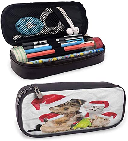 Estuche de lápices de cuero de Navidad Bolsa Estuche de lápices Juego de herramientas de mascotas de Navidad: Amazon.es: Oficina y papelería