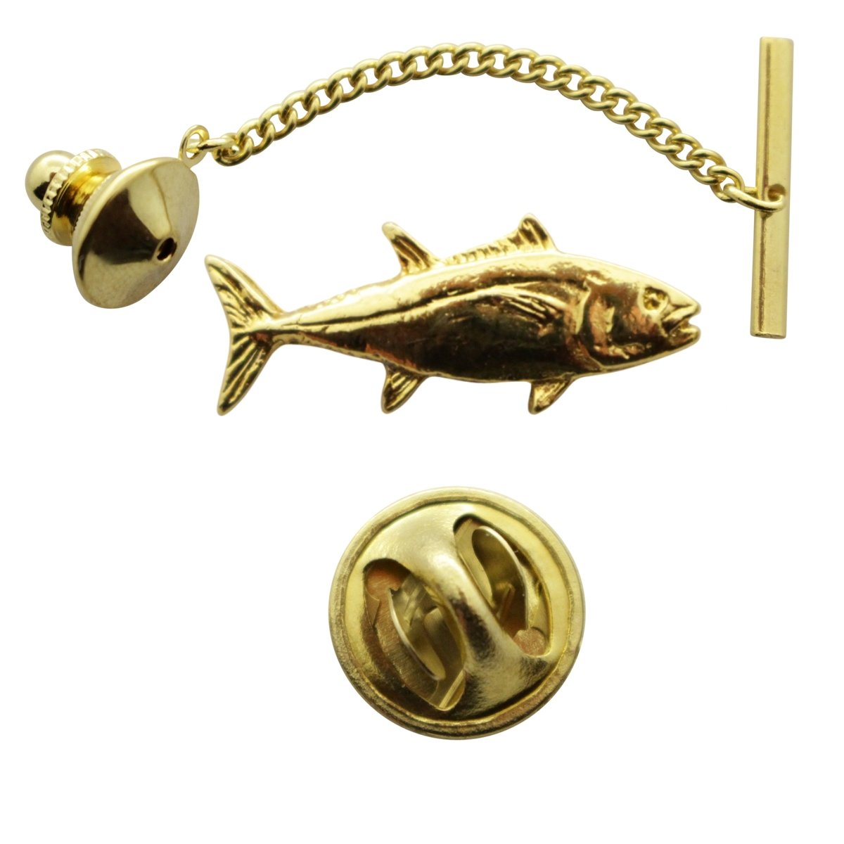 Tuna Tie Tack ~ 24K Gold ~ Tie Tack or Pin ~ Sarahs Treats /& Treasures