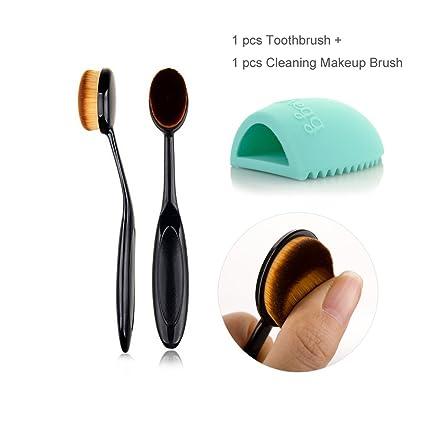 TRAVELMALL 10pc/Set Oval cepillo de dientes suave de maquillaje. Fundación Polvo Colorete Cejas