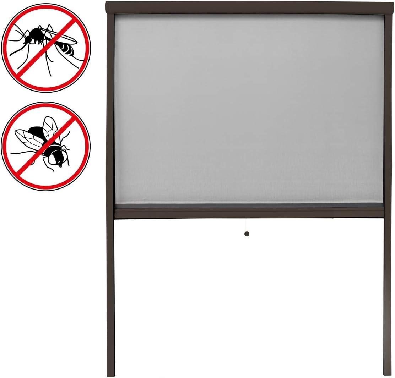 ECD Germany Mosquitera Cortina Enrollable para Ventanas marón Resistente a la Intemperie 130x160cm mosquitero de Fibra de Vidrio Protector antimosquitos Puerta protección Insectos con Kit Montaje