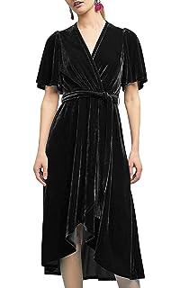 9aa1da8b06 R.Vivimos Womens Velvet Pleated Wrap Tie Waist Elegant Flowy Party Plus  Size Midi Dresses