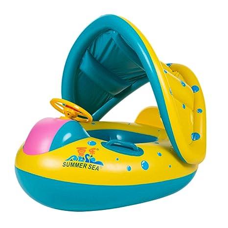 TOYMYTOY Bebé flotador de natación inflable Sombrilla Asiento Barco Anillo de Natación Anillo Piscina de Playa