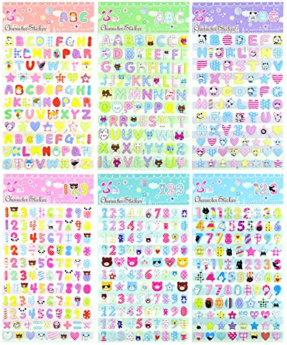 ABC123 - 6 Sheets Colorful Number and A-Z Alphabet Letters 3D Puffy Decorative Diary Album Calendar Adhesive Sticker Scrapbooking Craft For Kids School Journal (Size 3.75 X 5.75 Inch./sheet)
