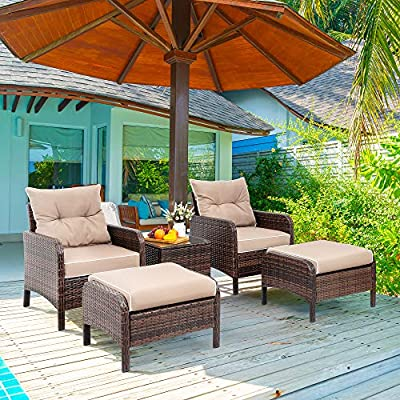 Vongrasig 5 Piece Wicker Patio Furniture Set, PE Wicker Rattan Small Patio Set Porch Furniture, Cushioned Patio Chairs Set of 2 w/Ottoman&Table, Outdoor Lounge Chair Chat Conversation Set, Dark Brown - 【Sturdy Wicker Furniture】Featuring all weather plastic wicker, fade resistant, UV protected, and waterproof; Rattans are elegantly woven over sturdy powder coated rust-proof steel frames offering extra support and durability with load capacity of 300lbs for each chair and ottoman. 【Upgraded Comfort & Easy Cleaning】This contemporary outdoor sectional sofa comes with 4-inch thick lofty sponge padded cushions offering upgraded comfort; Polyester dirty-proof covers can prevent from water spilling; All covers are with zippers, removable and easily washable by washing machine. 【Ergonomic Outdoor Furniture Set】This patio furniture set suits for 2-4 persons.Thick cushioned ottomans gives you additional seating to straightly prop up your feet without height difference. The ottoman sets can also be placed at each side of the table to be a patio conversation set, which gives you more chances to enjoy leisure time with your friends and family. - patio-furniture, patio, conversation-sets - 61vrOEE IRL. SS400  -