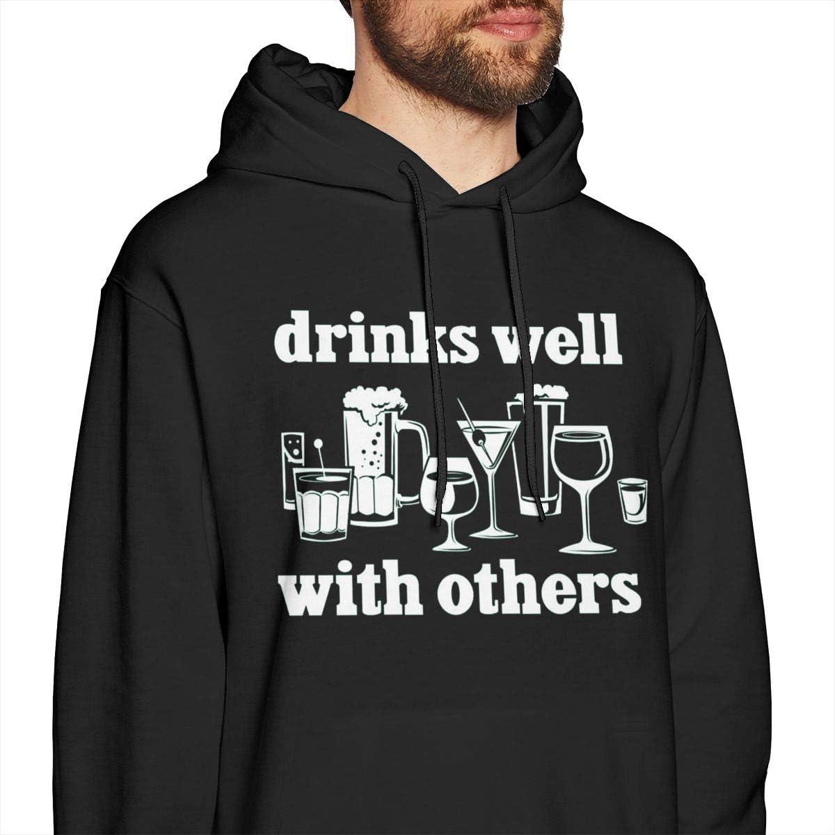Marsherun Men Print Drinks Well with Others Pullover Fleece Hoodie Sweatshirt