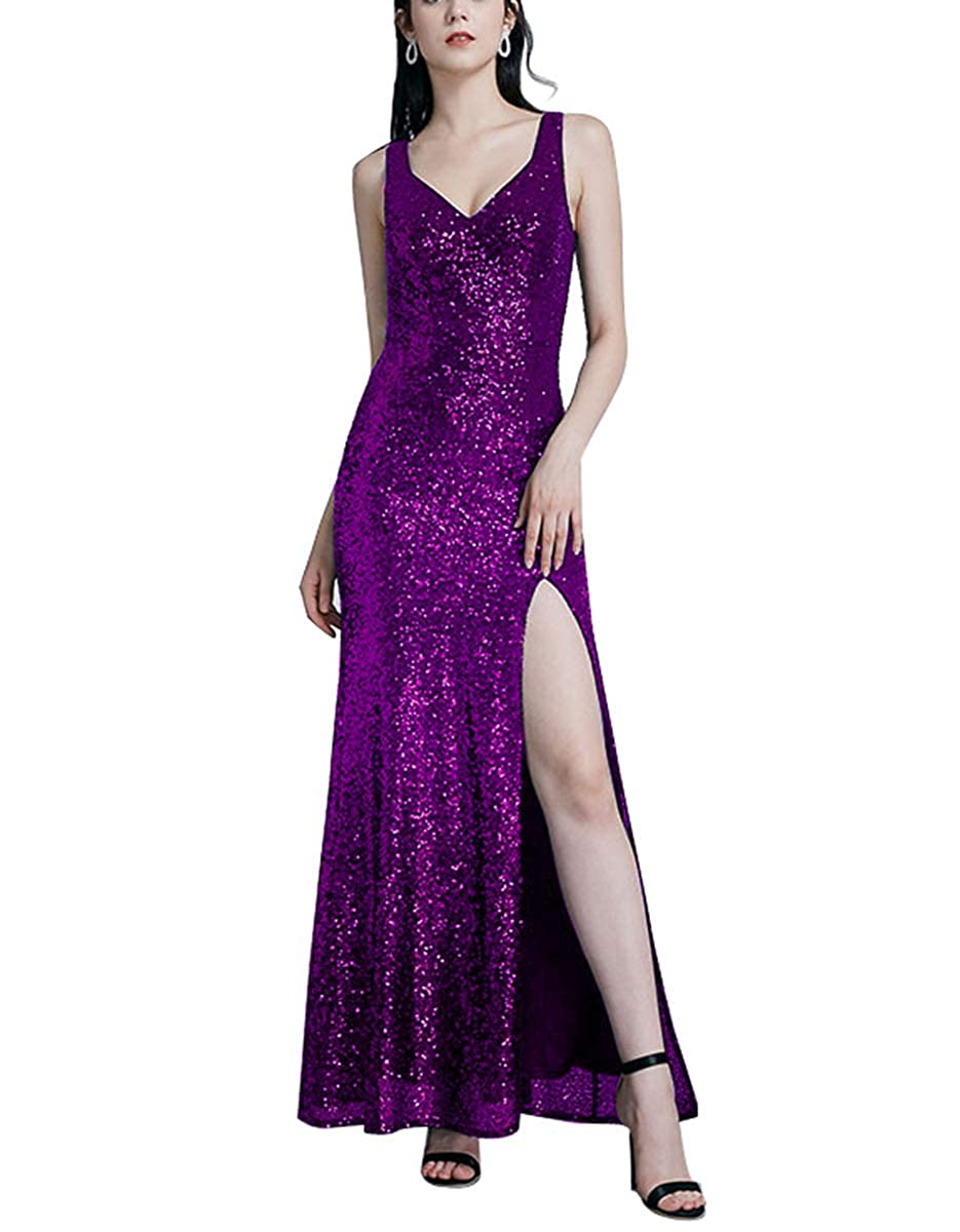Purple Sequin Prom Dresses Long VNeck Bridesmaid Gowns Split Mermaid Gradual for Women