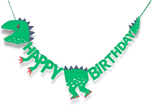 Amazon Com T Rex Dinosaur Happy Birthday Banner 6 Foot Long And Pre Assembled Dinosaur Party Supplies And Decorations For Kids Birthday Parties Toys Games