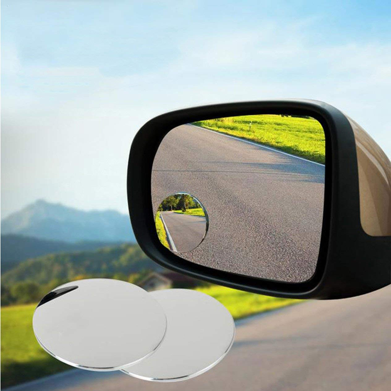EdBerk74 Autozubeh/ör Kleiner runder Spiegel Auto-R/ückspiegel Blinder Fleck Weitwinkelobjektiv 360-Grad-Drehung einstellbar