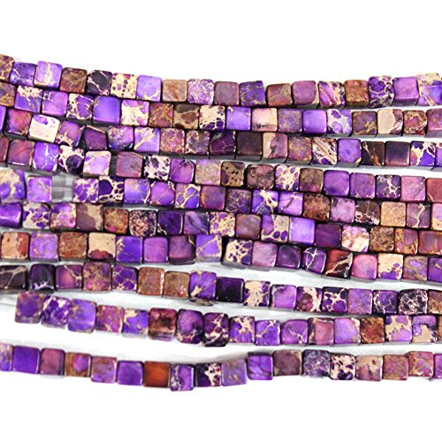 Gemstone Cube (Natural Sea Sediment Jasper Cube 4mm Findings Jewerlry Making Gemstone Loose Beads (purple))