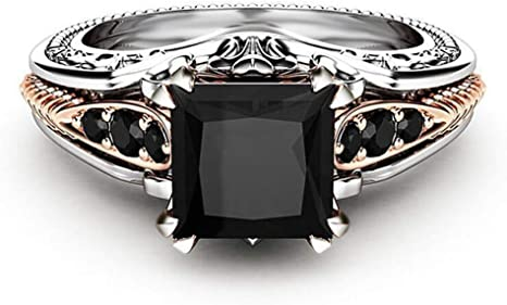 Black Square Diamond Around Cubic Zirconia Rings for Women Wedding Engagement Anniversary Jewelry Gift Under 5 Dollar