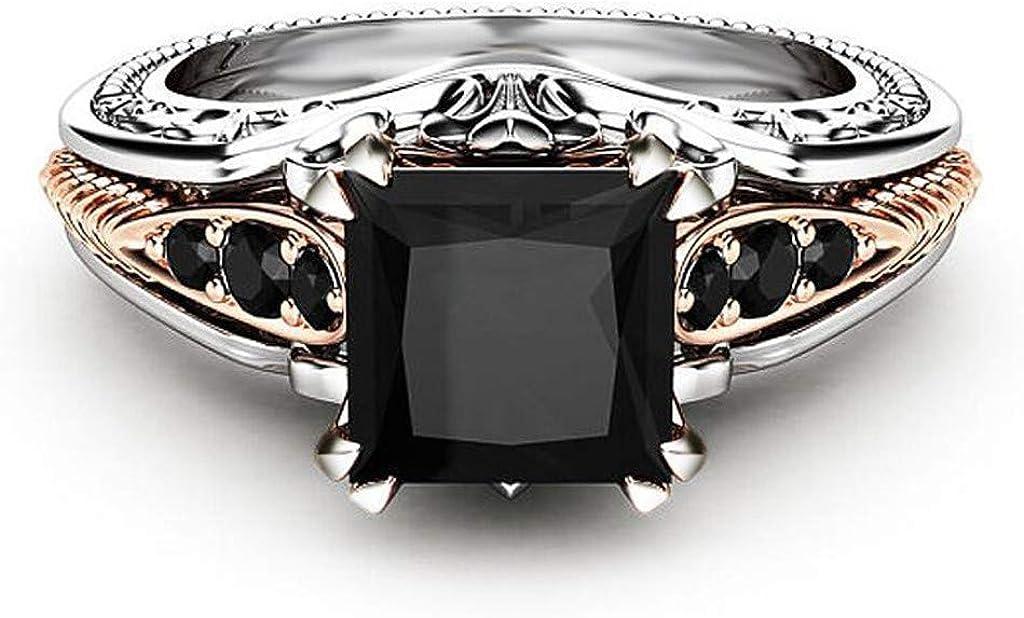 Dorical Anillo Aniversario Boda Anillo de princesa con incrustaciones de diamantes cuadrados negros Moda Mujer Anillos Joyas de piedras preciosas negras Anillos de boda Tamaño