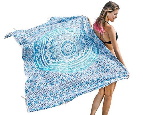 Sarong Wrap for Women Beach Throw Bikini Swimsuit Cover up Boho Chic Pareo by Mandala Life ART (Blue)