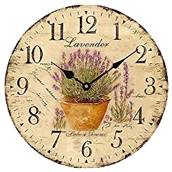 Wood Wall Clock 12 Inch VintageLavender in Pot French Country Romantic Shabby Chic Large Decorative Roman Numerals Analog Battery Operated Silent for Home Decoration
