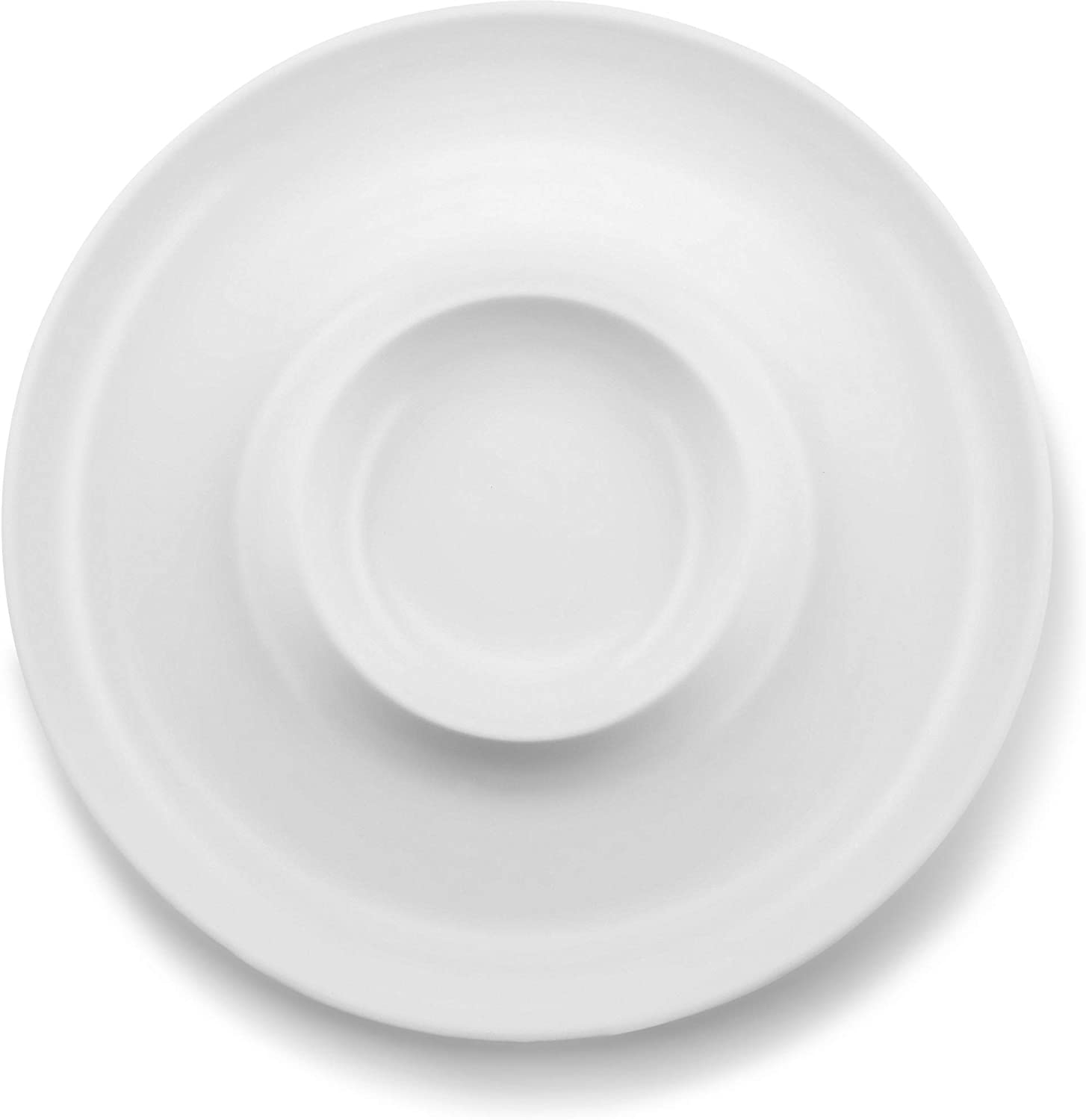 KooK Chip & Dip Ceramic Serving Dish Bowl, White, Perfect for Superbowl Parties - 13 Inch