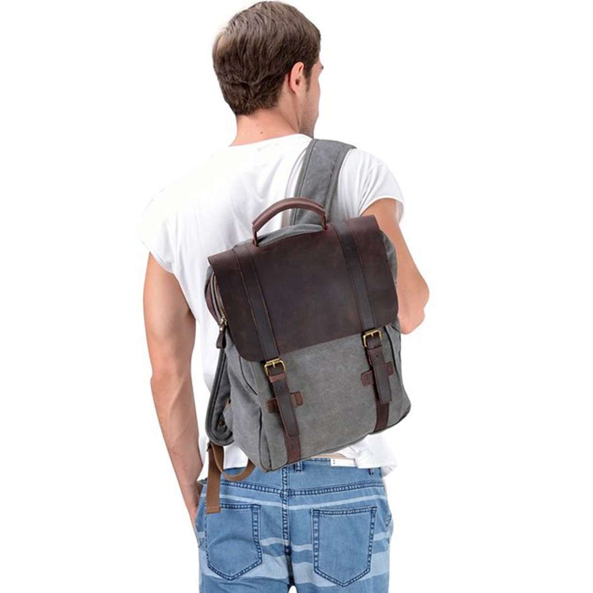 S-ZONE Retro Canvas Leather School Travel Backpack Rucksack 15.6-inch Laptop Bag Dark Gray S-ZONE <a href=