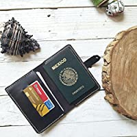 Porta pasaporte 100% piel color café oscuro viajes viajero