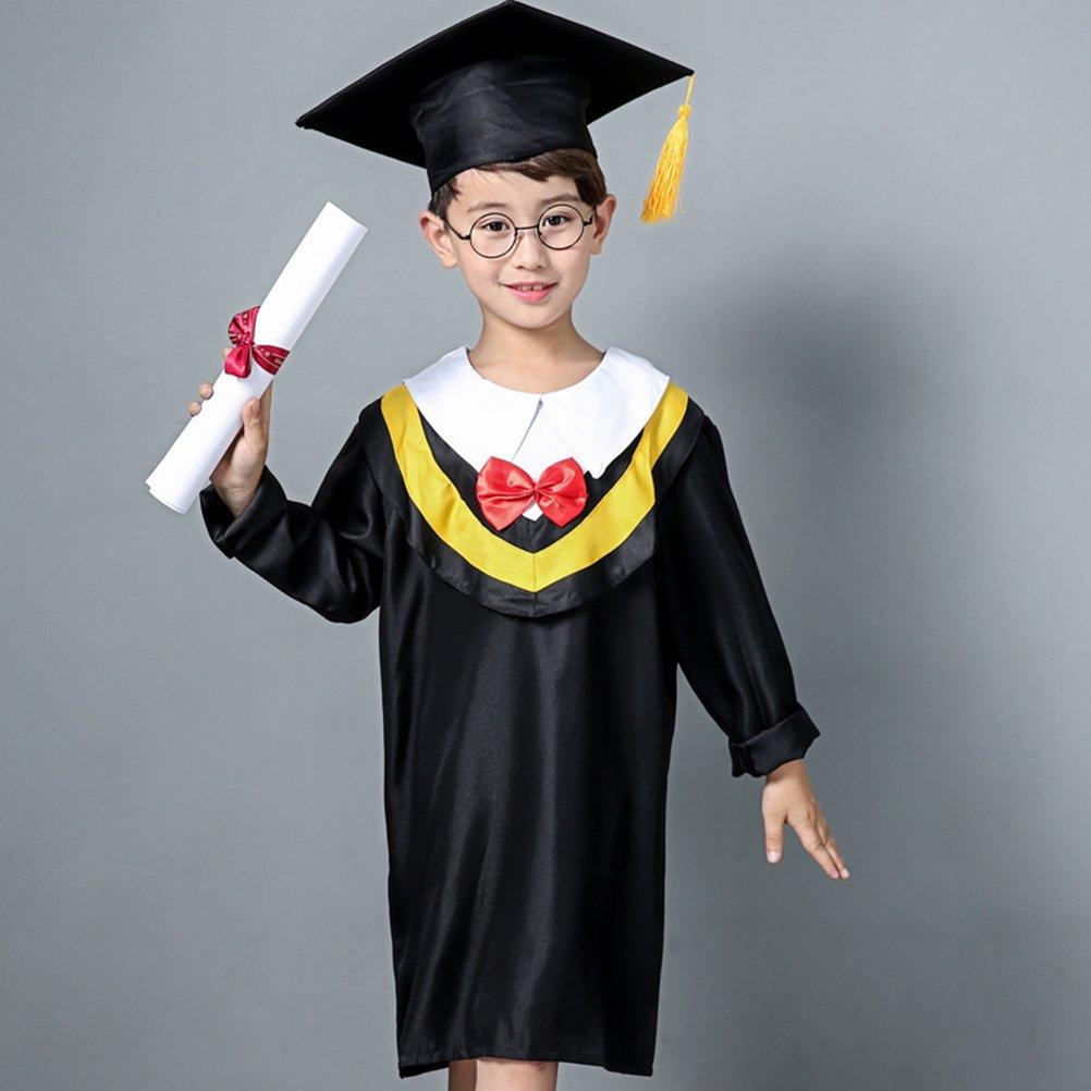 Amosfun Bata de graduación para niños, Bata de graduación, Gorra de Borla para Preescolar 130 cm de Altura (línea Amarilla): Amazon.es: Ropa y accesorios