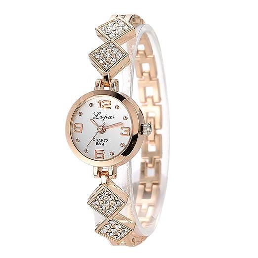Reloj de Pulsera Demiawaking Lvpai Reloj Mujer Reloj De Acero Inoxidable De Cuarzo Reloj Pulsera (