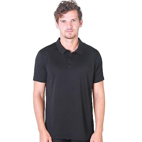 H.MILES Polo de golf para hombre, de manga corta, color negro ...
