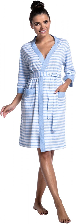 Womens Maternity Breastfeeding Robe Pyjamas Stripes Pattern 394c Zeta Ville
