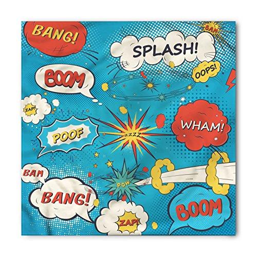 Bandana Pop - Lunarable Unisex Bandana, Superhero Pop Art Style Humorous, Cream Blue
