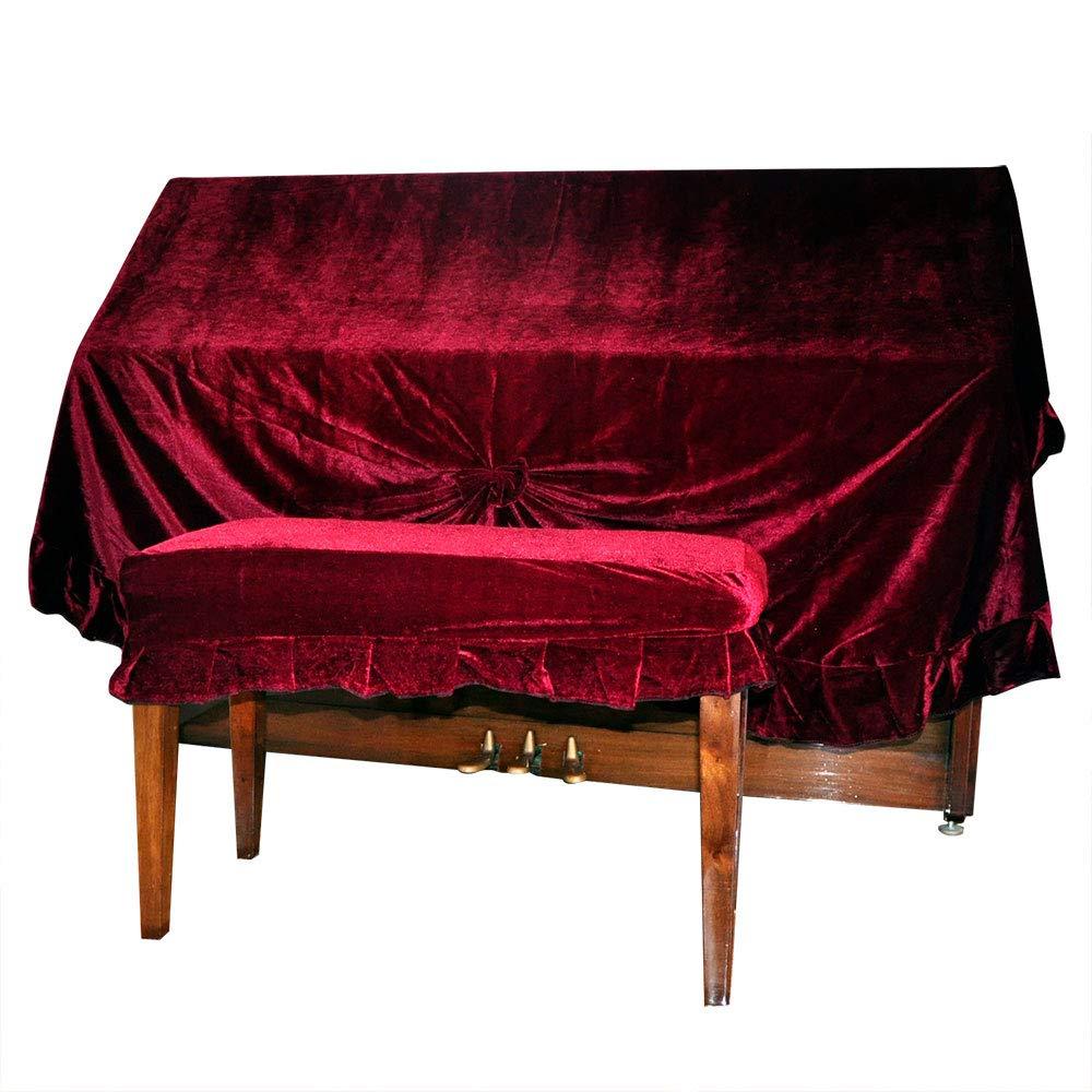 Nuzamas Housse de piano poussière en velours et Piano Tabouret double Coque extra épais protection contre la poussière et les rayures (Rouge foncé)