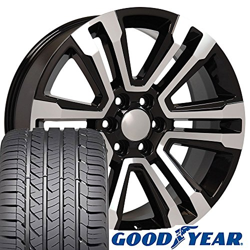 22x9 Wheels & Tires fit GM Trucks and SUVs - GMC Sierra Denali Style Black Machined Rims and Goodyear Tires - SET (Suv Black Machined)