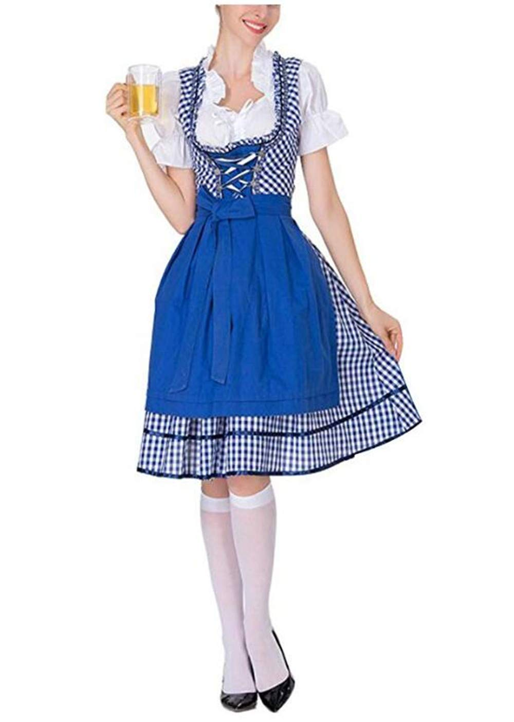 Women\'s German Dirndl Dress Costumes for Bavarian Oktoberfest Carnival Halloween Polyester