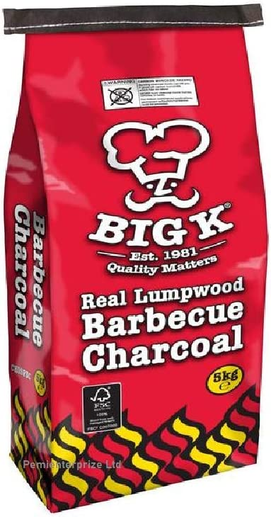 Big K Real Lumpwood Barbecue Charcoal 5kg BBQ Grill Open Fire Outdoor Cooking
