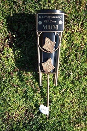 gold leaf in loving memory MUM spiked grave vase memorial pot