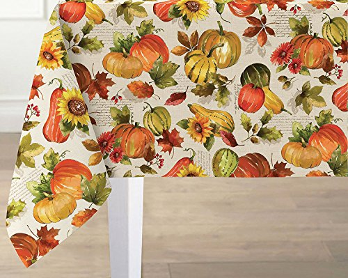 Thanksgiving Shabby Chic Pumpkin Harvest Fabric Tablecloth, No Iron and Stain Resistant, 60 Inch x 84 Inch Oblong/Rectangle