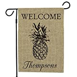GiftsForYouNow Personalized Pineapple Burlap Single Sided Garden Flag, 18