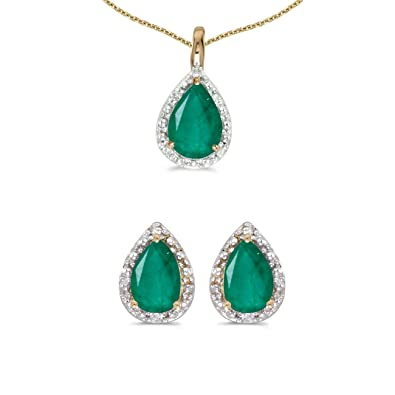 a503f0103ac80 Amazon.com: 10k Yellow Gold Pear Emerald And Diamond Earrings and ...