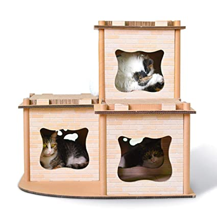 Hungry Bubble reciclable cartón Gato Casa Scratcher Cat House Claw Juguete Gato Escalada Marco Cat Condos