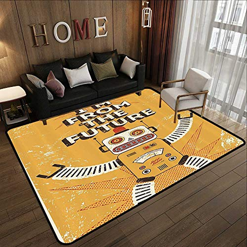 (Throw Rugs,Vintage Decor,Future Quote with Robot Figure Fiction Electronic Pop Art Style Illustration,Mustard 59