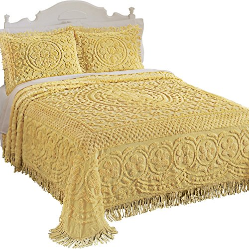 Collections Etc Calista Chenille Lightweight Bedspread with Fringe Border, Yellow, (Chenille Fringe)