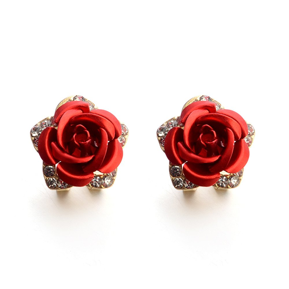 Challyhope Elegant Vintage Bohemian Rose Flower Rhinestone Ear Stud Earrings For Women Fashion Jewelry (Red)