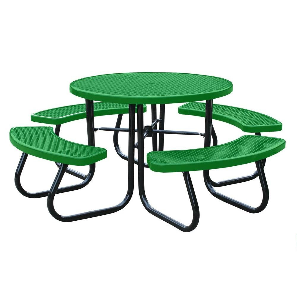 Paris 46 in. Light Green Picnic Table with Built-In Umbrella Support by Paris