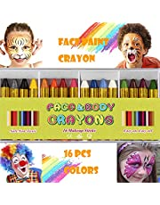 ENJSD 16 Colors Face Paint Crayon (3 INCH) Large Size Safe & Non-Toxic Face and Body Crayons Ultimate Party Pack