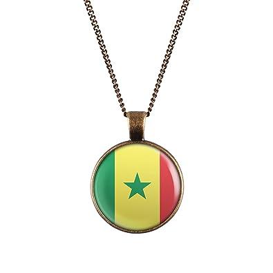 come comprare bello economico immagini dettagliate WeAreAwesome bandiera Senegal collana paesi con ciondolo a ...