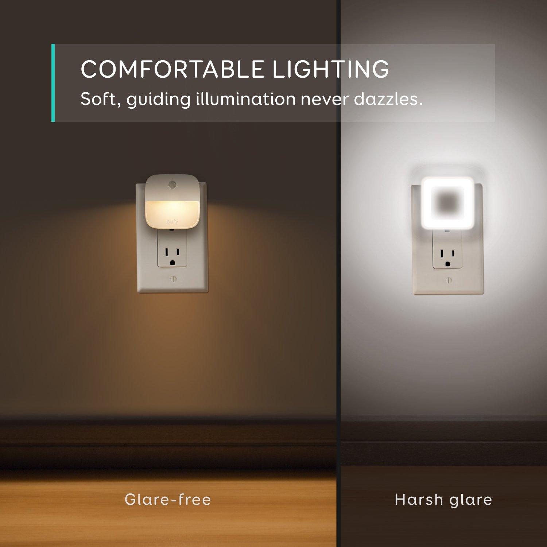 eufy Lumi Plug-in Night Light, Warm White LED Nightlight, Dusk-to-Dawn  Sensor, Bedroom Bathroom, Kitchen, Hallway, Stairs, Energy Efficient,  Compact,