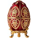 Fine Pewter Boxes Jeweled Egg Jewelry Holder Organizer Trinket Boxes Hinged (Red and Gold)