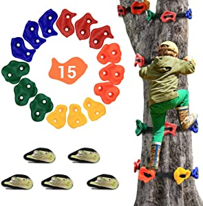 AmazeFan 15 Ninja Tree Rock Climbing Holds for Kids & Adults Climber, Climbing Grip Kits for Ninja Warrior Obstacle Course with 6.5' 160 Lbs. Load Cap Ratchet Tie Down Straps