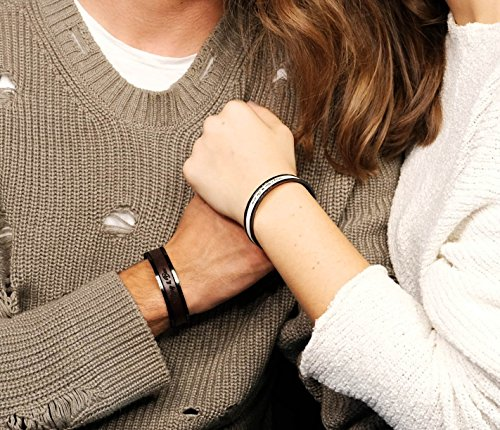Personalized Couples Bracelets Wedding Gifts His and Hers Matching Jewelry Engraved Cuffs Leather Inlay ()