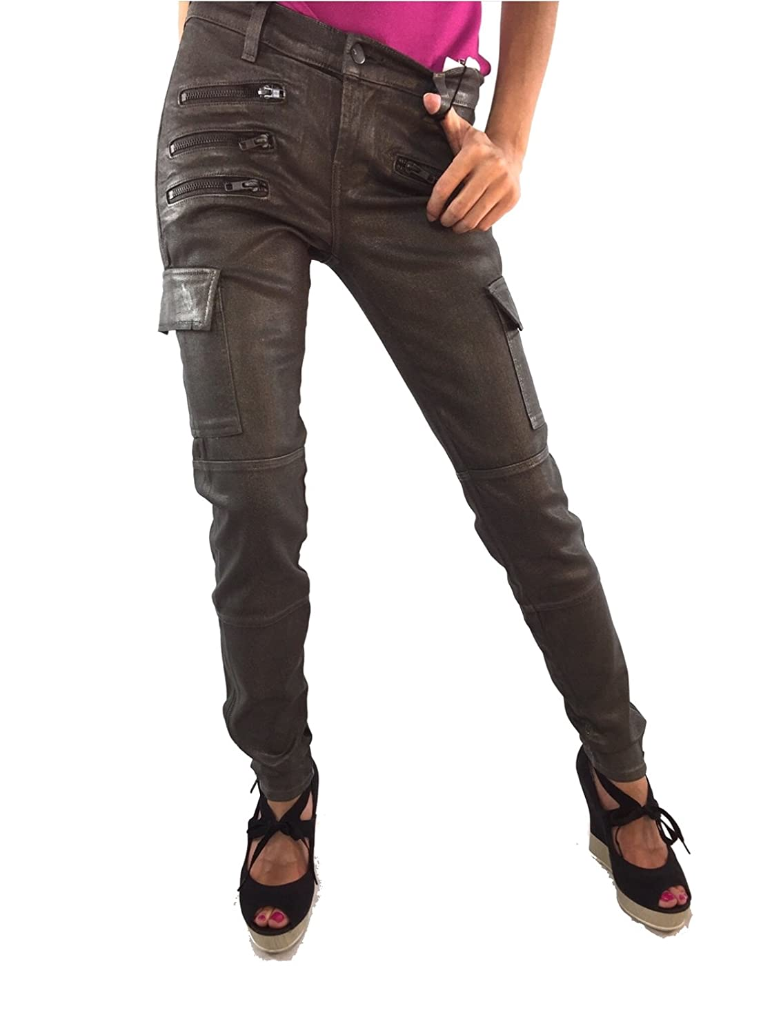 J Brand Women's The Brix Skinny Zip Cargo Coated Jeans