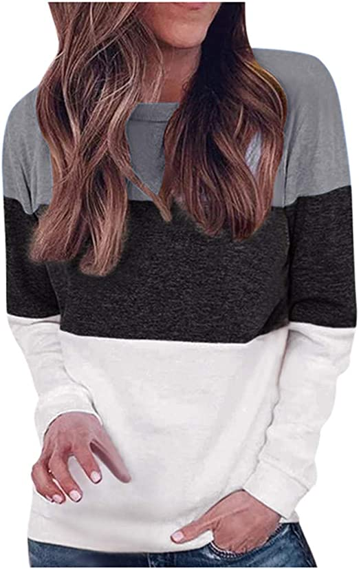 Elbow Patch Tops Patchwork Print Sweatshirt Blouse Gray BALABA◕。 New Round Neck Color Block Long Sleeve Shirts for Women