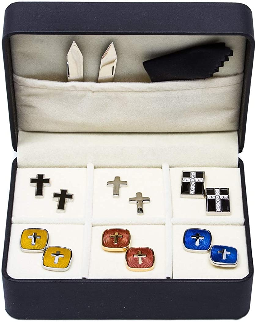 MRCUFF Cross Crosses Christian 6 Pairs Cufflinks with a Presentation Gift Box and Polishing Cloth