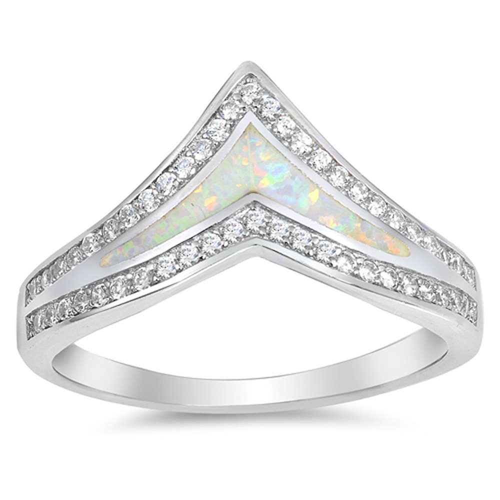 Sterling Silver Lab Created White Opal Chevron Thumb Stackable Ring Size 8