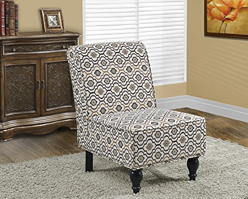 Monarch Specialties Earth Tone Fabric Traditional Accent Chair, 34-Inch