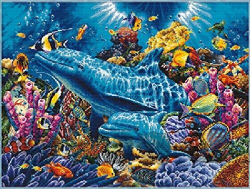 クロスステッチ刺繍キット 海底世界 図柄印刷 B00LUIOQWE